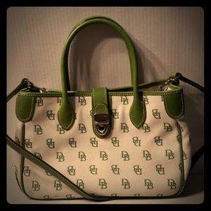 Rare Dooney & Bourke Signature Green/White Satchel